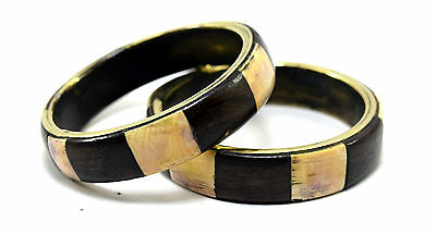 Pair Of Vintage Indian Mosaic Wood & ivr Inlay Fitted Brass Bangle Gift.i8-33 AU