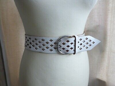 Vintage 80s wide cut out white leather waist belt 12 14 16 18 VGC trashy