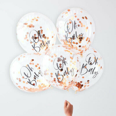 "Rose Gold Oh Baby 12"" Confetti Helium Balloons Baby Shower Party Decoration x 5"