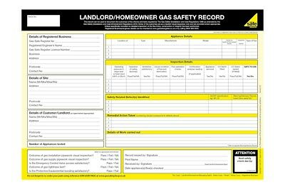 Official Gas Safe Landlord / Homeowner Gas Safety Record Pads | Genuine | New