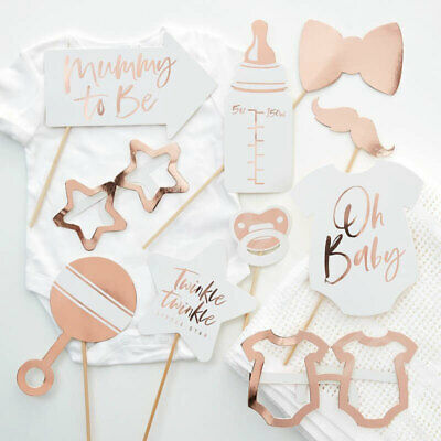 10pc Baby Shower Photo Booth Props Unisex Selfie Oh Baby Rose Gold Party Games