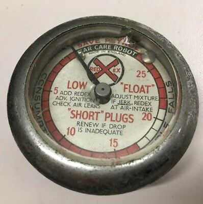 Early 1950s Redex Car Care Robot Gauge Vacum Fully Working Low Float