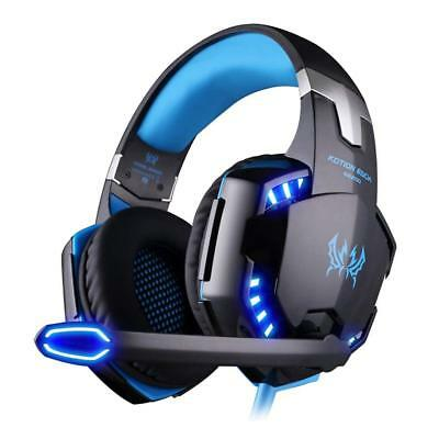 3.5mm G2000 Blue Gaming Headset LED Headphones for Mac PC Laptop PS4 Xbox One