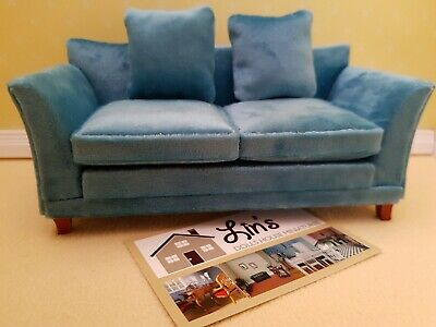 Dolls House Emporium  Miniatures 1/12th Scale Modern Teal  Sofa NEW 9313