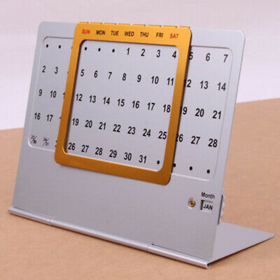 Aluminum Hand Slide Perpetual Calendar Reusable Office Home Desk Decoration