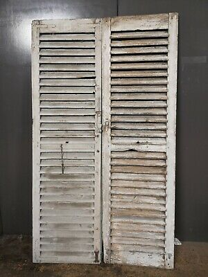 """VINTAGE WOODEN SHUTTERS FRENCH RECLAIMED 82 1/4"""" x 47"""""""