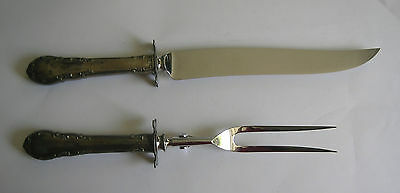 "Antique silver carving set, 13"" knife & 11"" fork, felt storage, delicate pattern"