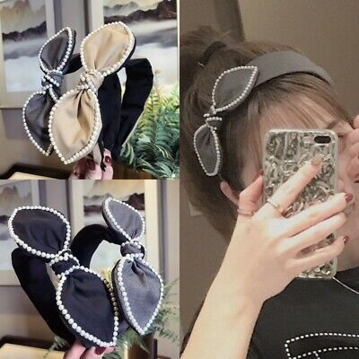 Korean Women Sweet Pearl Rhinestone Side Bow Rabbit Ears Wide Headband Headwear