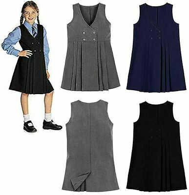 Children School Wear Pleated Pinafore Four Button Dress Girl V Neck Uniform Top