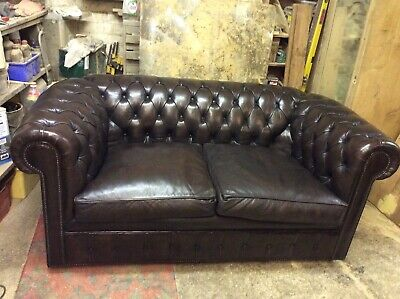 Genuine Original 1960s Restored Deep Buttoned Leather Chesterfield Sofa
