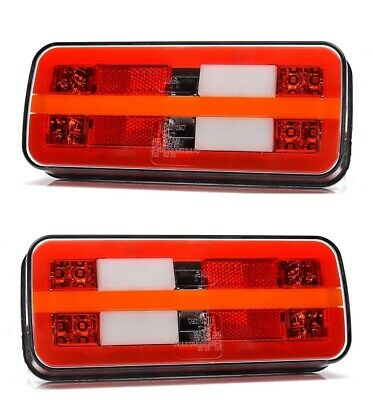 LED Rear Recovery Neon 24V Tail Lights 2x Lamps Dynamic Turn Signal Truck Lorry