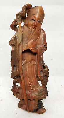 Antique Soapstone Chinese Carved Figure Shou Lao Deity Immortal Lohan