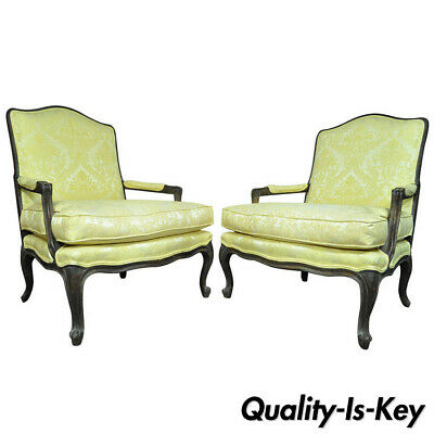 Pair of Italian Distressed French Louis XV Style Yellow Bergere Chair Arm Chairs