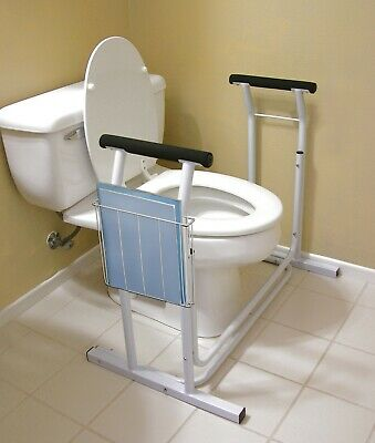Steel Toilet Safety Support for sitting & standing non slip padding Magazine AID