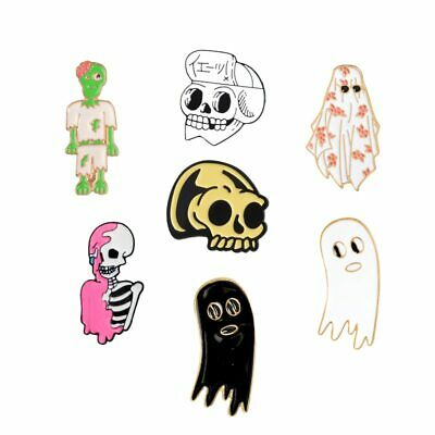 f66a85d7714 Skeleton Enamel Skull Ghost Zombie Brooch Badge Punk Pins Collection Lapel  Pin
