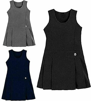 Children School Wear One Button Pleated Pinafore Dress Girls Scoop Neck Uniform