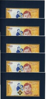 Bhutan - 5 pcs x 100 Ngultrum 2016 / 2018 UNC in folder Lemberg-Zp