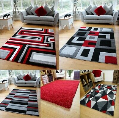 Red White Black Grey Modern Soft Thick Shag Rugs Small Extra Large Mats Cheap