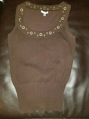 0a752dc0059ce2 Cache Embellished Sleeveless Top Silk Blend Tank Brown Size Medium Blouse