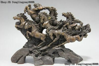 10 Chinese Bronze Copper Lucky running Fly Eight Steed Horse Success Art Statue