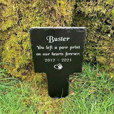 Personalised Pet Memorial Engraved Slate Cross Grave Marker Stake Plaque Dog