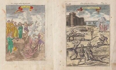 1685 Two Mallet Engravings of Slave Torture & Idolatry