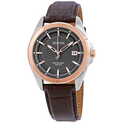 Bulova Precisionist Grey Dial Brown Leather Men's Watch 98B267
