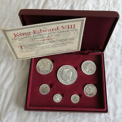 1937 EDWARD VIII SILVER PROOF CENTENARY EDITION PATTERN 7 COIN SET - cased/coa