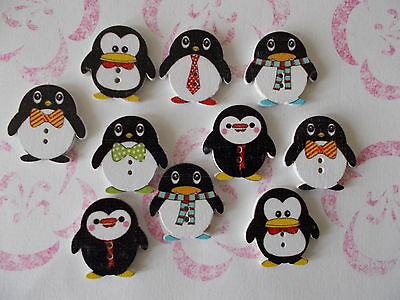 10 X Cute Penguin Shaped Wooden Buttons Assorted Mixed Random Colours