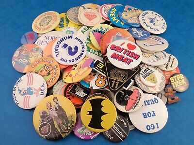 Original Retro Vintage BADGES Character Music Novelty TV etc - Choose Your Badge