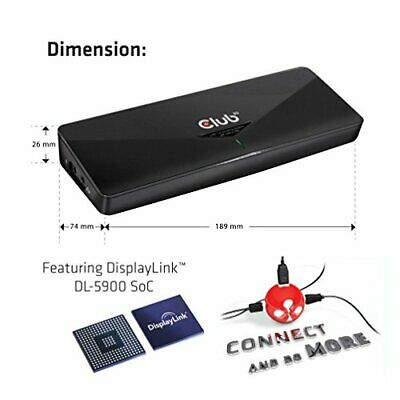 Club 3D 4K Dual Display Docking Station HDMI, DisplayPort, DVI 3x USB 3.0 Blac