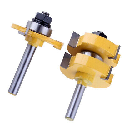 2Pc 8mm Shank Large Tongue Slot Joint Assembly Router Bit Set 1-1/4inch