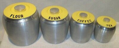 VINTAGE ALUMINUM SPUN Kitchen Canister Set w/Yellow Lids ...