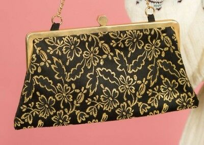 Stunning 50s vintage black & gold lurex embroidered clutch bag evening bag