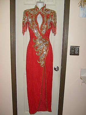 Lillie Rubin Yearick Red Long Sequined-Beaded Long Gown-Size Small