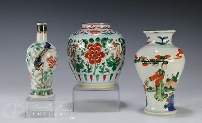 Three Antique Chinese Porcelain Vases with Enameled Design of Figures and Birds