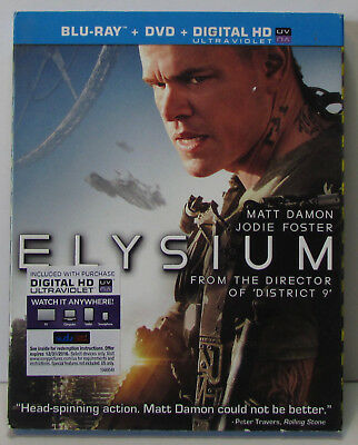 Elysium Blu-ray / DVD 2-disc set with slipcover, great condition!