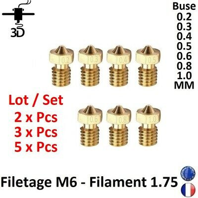 2,3,5 Pcs Nozzle 02-03-04-05-06-08-1.0mm M6 Thread 1.75mm Filament 3D Printer