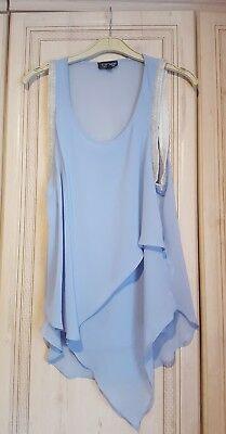 Topshop Baby Blue Top With Embellishment. Size 10