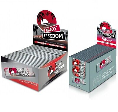 Cartine Lunghe SILVER Enjoy Freedom 1 Box + 5000 Cartine CORTE Trasparenti 1 Box