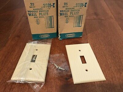 Leviton 1 Single Gang Toggle Switch Wall Plate Bakelite Ribbed Ivory Vtg Nos