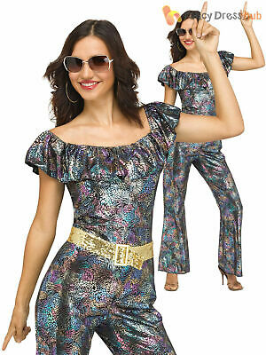 Ladies Disco Queen Costume Adults 1980s Diva Retro Fancy Dress Womens Outfit