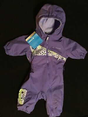 08e2bdc76 COLUMBIA BABY ONE Piece Snow Suit Sz 3-6 Months Hooded Zip Navy Blue ...