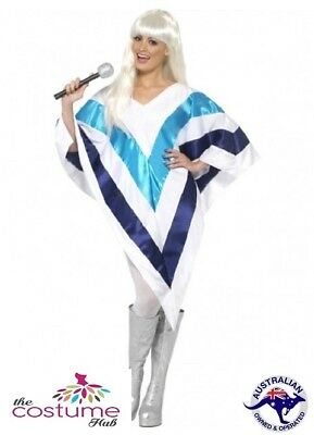 Female Super Trooper Poncho 1970'S Disco Fancy Dress Costume ABBA
