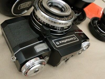 NICE BLACK ZEISS Ikon Contaflex S camera with three lenses, case, manual