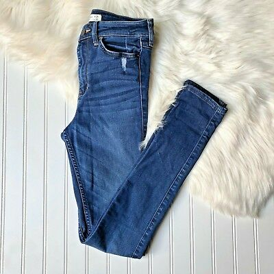 0c399c14368 Abercrombie   Fitch High Rise Skinny Jeans Sz 2 26 x 31 Medium Wash  Distressed