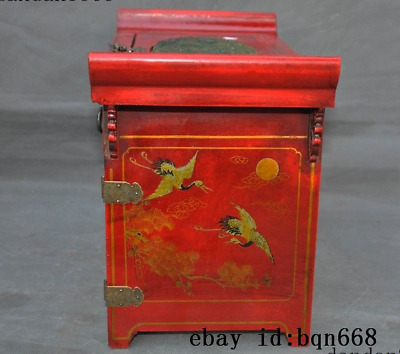 Old China Lacquerware Wood Bronze Dynasty Dragon Phoenix Dresser Storage Box