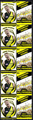 Josh Caddy Richmond Tigers 2017 Afl Grand Final Mint Stamp Strip