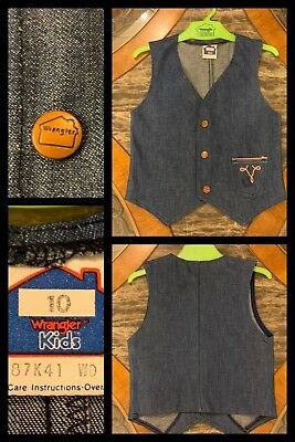 Girls Denim Jean Vest WRANGLER 1970s Hippy Sleeveless Snaps Biker Western Sz 10