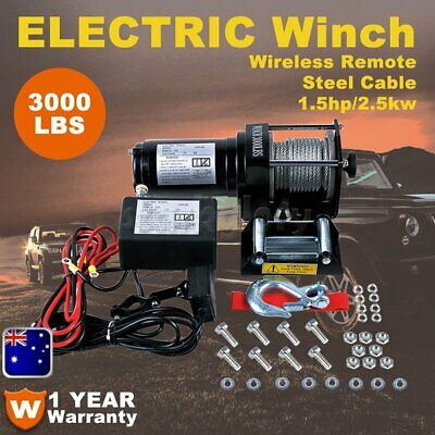 Electric Winch 3000lbs 12V Steel Cable Wireless Remote 4x4WD ATV Boat Car Truck